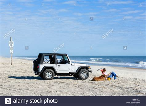 beach jeep wrangler young woman and her dog sitting by a jeep wrangler