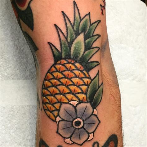 american traditional flower tattoo pineapple tattoos and trends