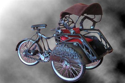 Miniatur Sepeda Onthel Becak miniatur sepeda dan becak indonesianrickshaw