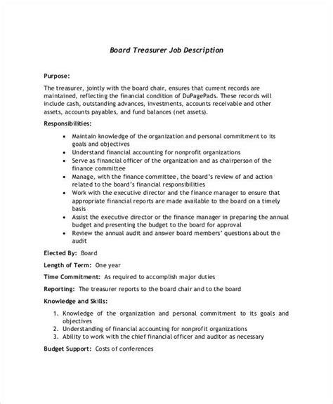 treasurer description resume template sle