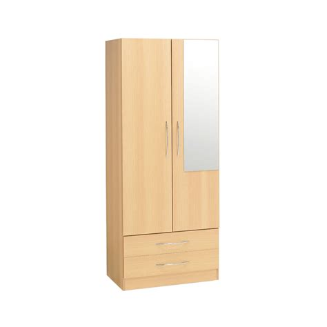 Armoire With Hanging Space Alaska 2 Door Wardrobe 2 Drawers Mirror Ideal Furniture