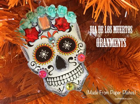 dia de los muertos ornaments made from dollar store paper
