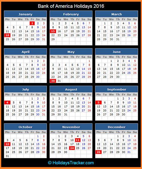 bank holidays usa bank of america holidays 2016 holidays tracker