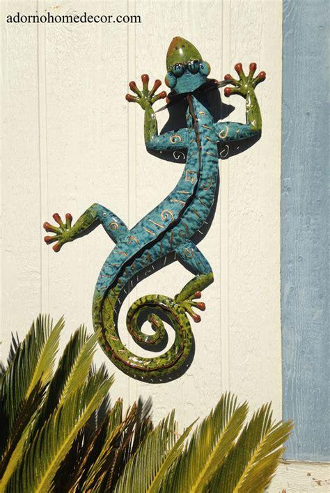 Metal Gecko Wall Decor Garden Art Indoor Outdoor Patio Garden Wall Ornaments Uk