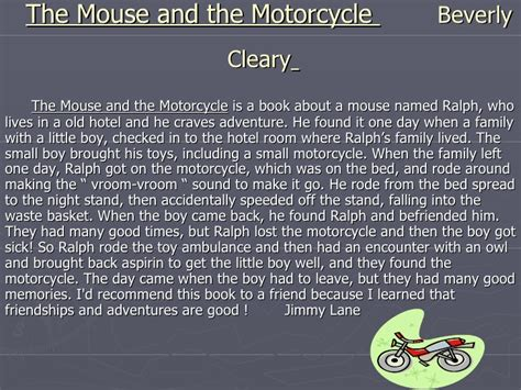 the mouse and the motorcycle book report book report slide show