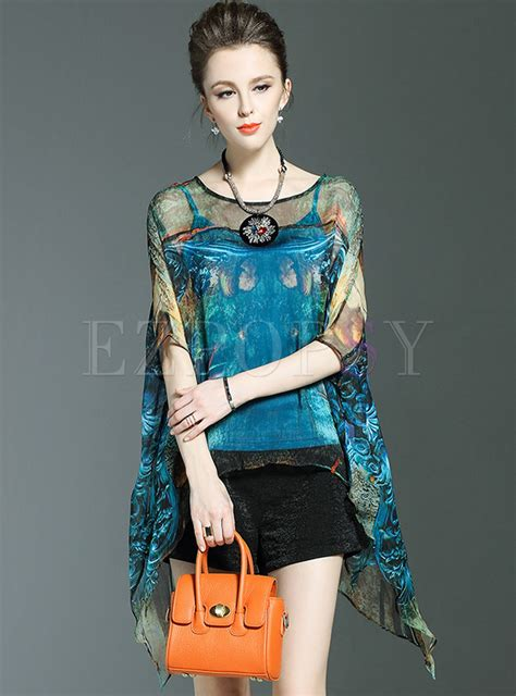 Sale Blouse Batwing Merah silk batwing sleeve see through blouse with camis ezpopsy