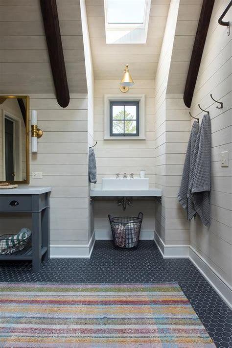 kids bathroom flooring cabin kids bathroom with gray hex floor tiles country