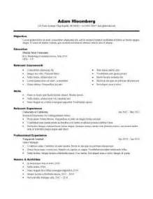 resume templates for internships sle resume for internship template idea