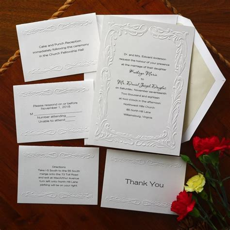 Wedding Invitations Embossed Border by Wedding Invitation Set Embossed Border