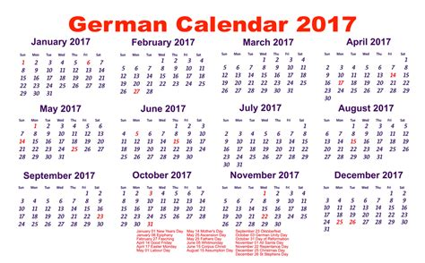 yearly calendar 2017 with holidays yearly german calendar 2017 with holidays free