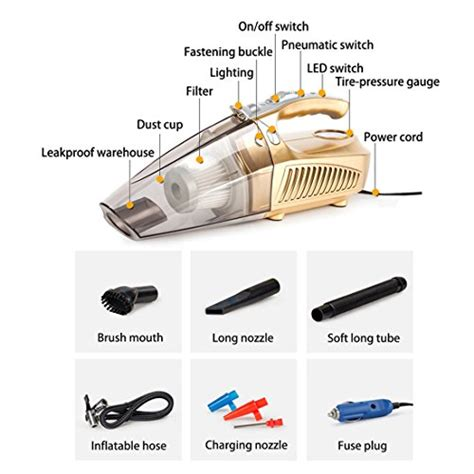 4 In 1 Car Vacuum Cleaner Portable High Power Tire Inflator Flashlight car vacuum cleaner 4 in 1 portable handheld dc 12v 100w 3800 pa suction huanzhan high