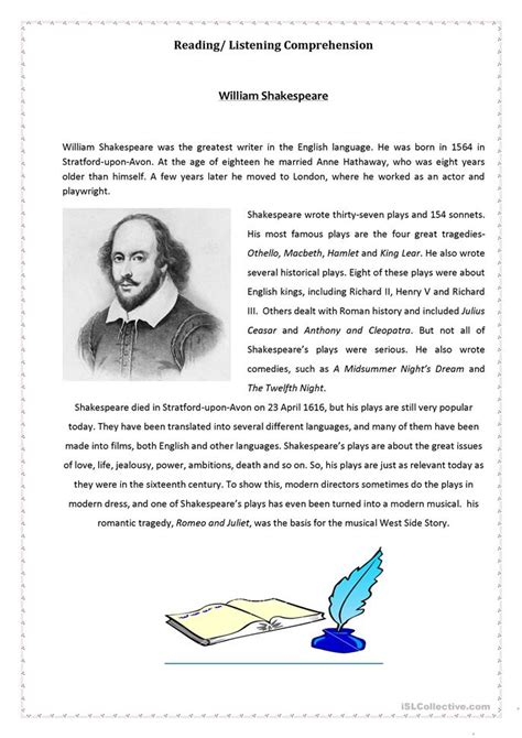 william shakespeare biography in simple english 30 free esl shakespeare worksheets