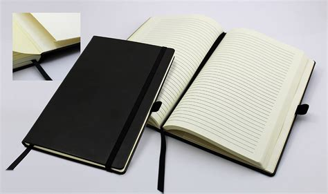 A5 Casebound Notebook Journal Belluno Leather Look Top - a5 casebound notebook with a black elastic and pen