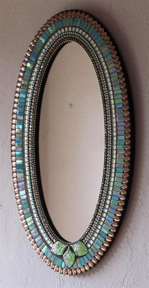 mosaik spiegel blue green and copper colored mosaic mirror