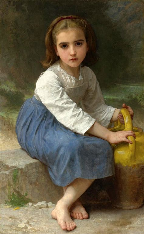 william adolphe bouguereau young girl young girl with a water jug painting by william adolphe