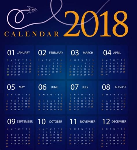 Calendar 2018 Vector Design 2018 Calendar Design Blue Decoration Spaceship Icon