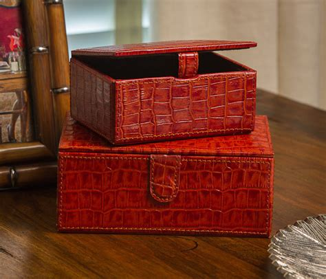 burnt orange croc set of 2 boxes home decor