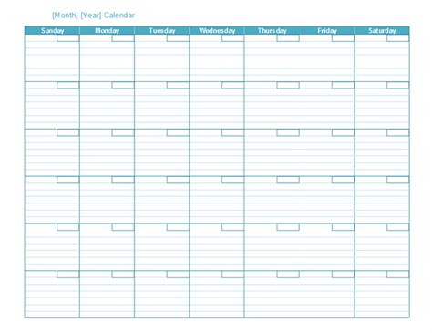 generic monthly calendar template calendars office