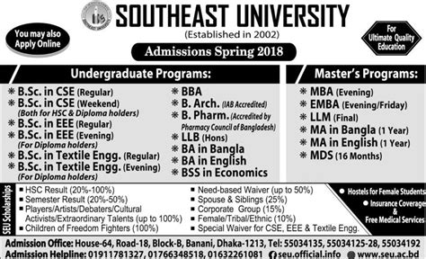Nsu Bangladesh Mba Program by Southeast Admissions 2018 All Paper