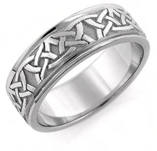 celtic wedding band ring 14k white gold