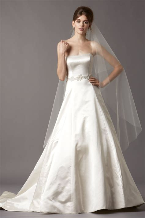 simple strapless a line satin wedding dress with lace