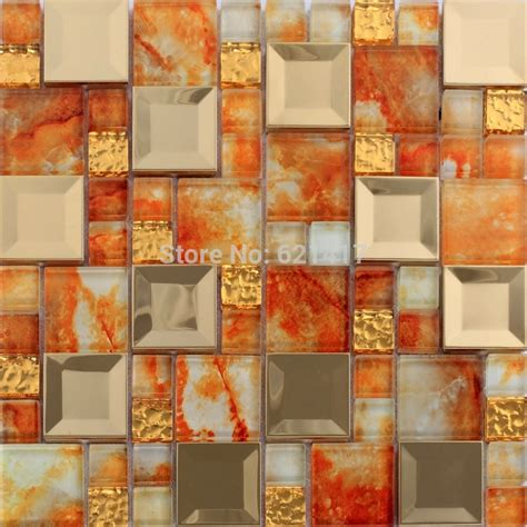 orange color glass mosaic mixed golden stainless steel