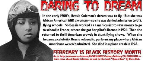 biography black history facts bessie coleman quotes inspirational quotesgram
