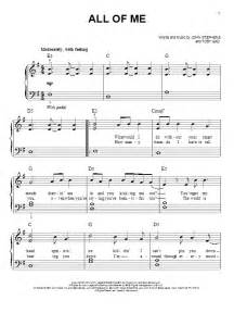 All of me sheet music for piano solo chords by john stephens