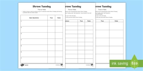 true or false cards template shrove tuesday true or false quiz template activity sheet