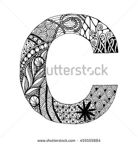 doodle c zentangle stylized alphabet letter c in doodle style