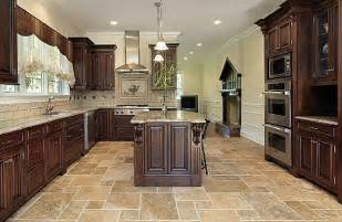 Travertine Kitchen Floor Some Words About Kitchens With Beige Granite Counters Travertine Tile Floors And Rich Wood