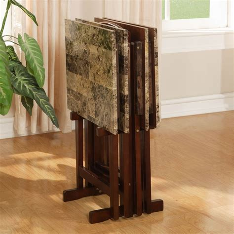 linon home decor tray table set faux marble brown linon tray table set faux marble living room tables