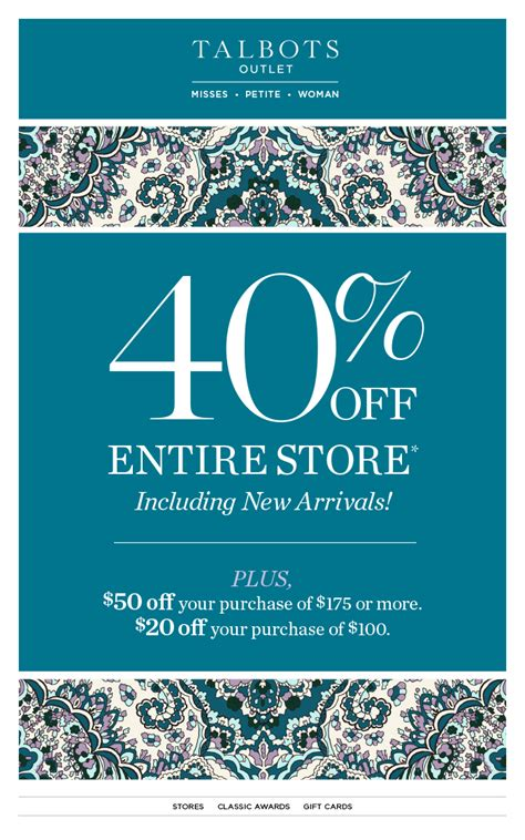 printable coupons talbots outlet special offers available at freeport village station