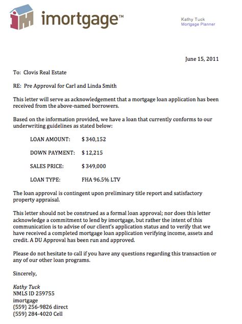 Mortgage Facility Letter Knowcrazy Sle Credit Approval Letter