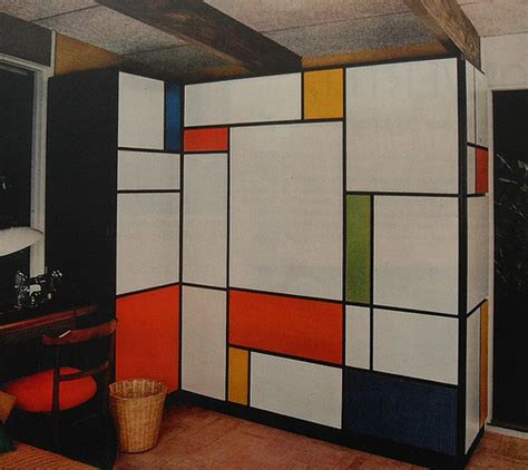 1960s design 1960s mondrian desk flip down foldout bold solid color vin