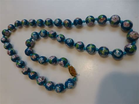 bead jewelry vintage painted glass bead necklace from