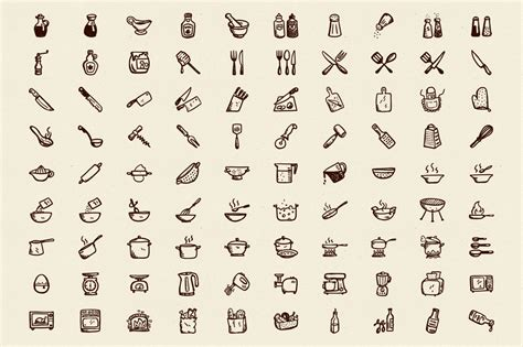 90 Hand Drawn Kitchen Icons ? Hand Drawn Goods