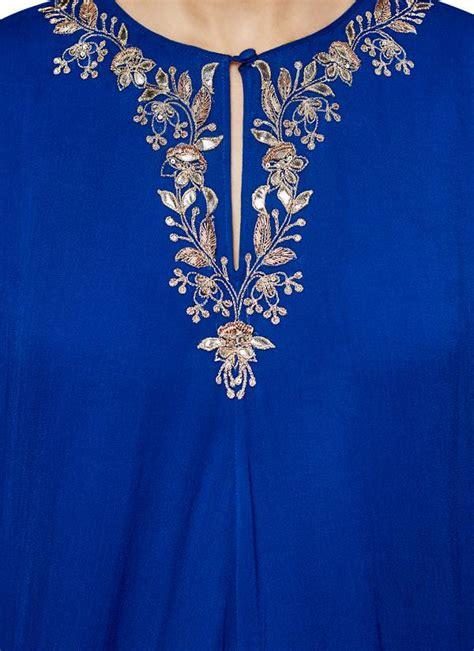 Minimal Embroidery Tunic dongre the shriya ink blue tunic shop tunics at