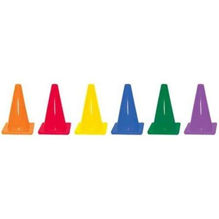 color cones olympia sports co078p 6 in colored traffic cones set of