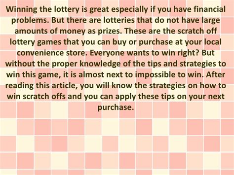 7 Tips On Winning The Lotto by Sure Tips To Win In Scratch Offs
