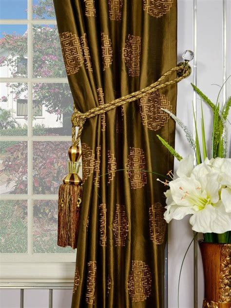 pinch pleat silk drapes brown embroidered chinese inspired single pinch pleat