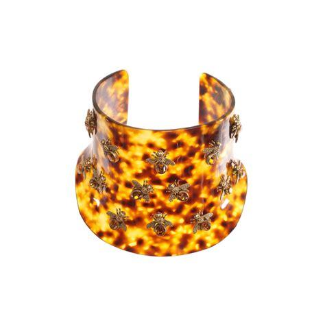 Alexander mcqueen Plexi Tortoise Shell Bee Choker in Brown   Lyst