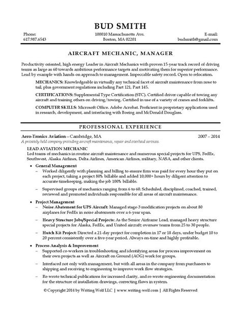 Aircraft Mechanic Resume by Aircraft Mechanic Manager Resume Writing Wolf Resume