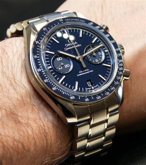Omega Speedmaster Co Axial Chronograph Titanium Blue Watch Hands On   aBlogtoWatch