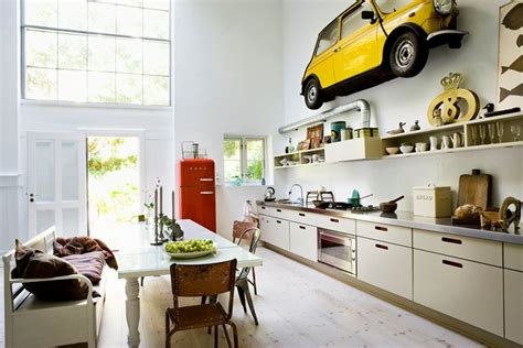 car yellow in home decoration in kitchen interior design