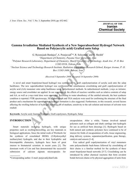 Salep Hidrogel pdf gamma irradiation mediated synthesis of a new