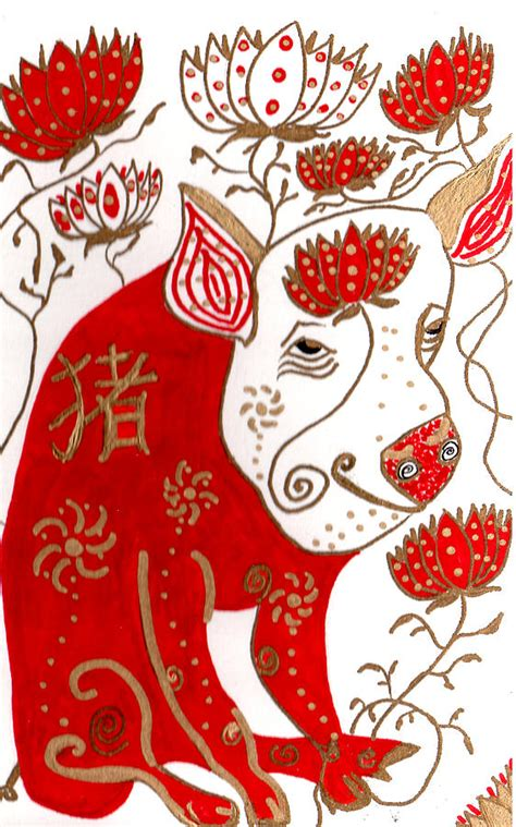new year of the golden pig year of the pig drawing by barbara giordano