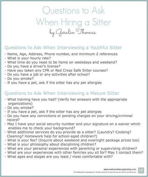 interviewing a questions to ask printable to organizing baby