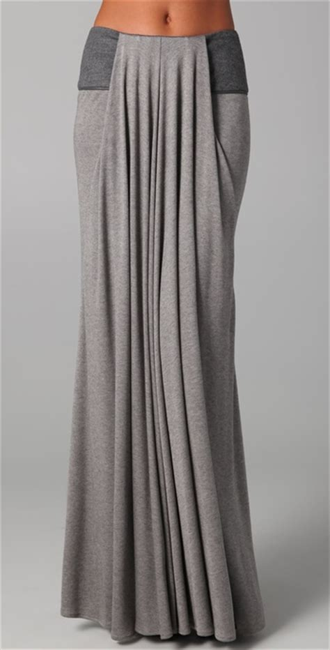 long draped skirt doo ri long draped skirt with leather trim in gray grey