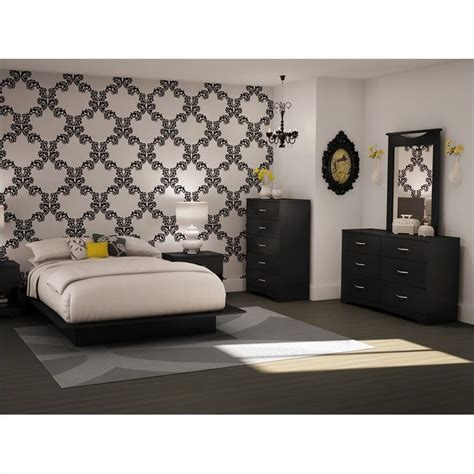 south shore maddox full queen black wood platform bed 5 pc